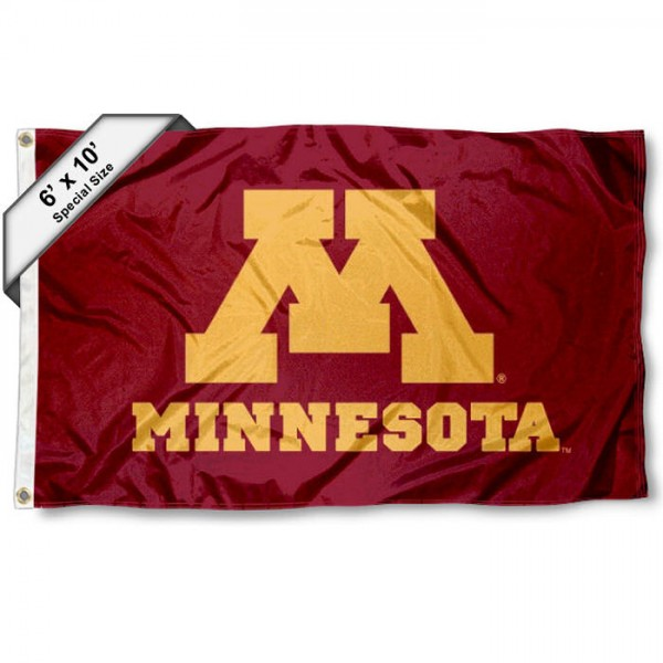 University of Minnesota 6'x10' Flag measures 6x10 feet, is made of thick poly, has quadruple-stitched fly ends, and University of Minnesota logos are screen printed into the University of Minnesota 6'x10' Flag. This 6'x10' Flag is officially licensed by and the NCAA.