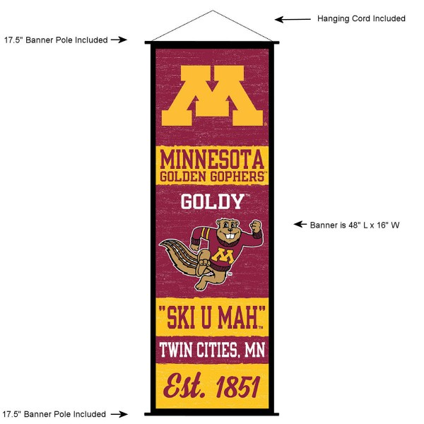 "This ""ready to hang"" University of Minnesota Decor and Banner is made of polyester material, measures a large 17.5"" x 48"", offers screen printed athletic logos, and includes both top and bottom 3/4"" diameter plastic banner poles and hanging cord. Our University of Minnesota D�cor and Banner is Officially Licensed by the selected college and NCAA."