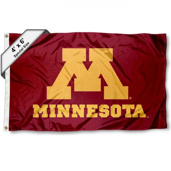 University of Minnesota Large 4x6 Flag measures 4x6 feet, is made thick woven polyester, has quadruple stitched flyends, two metal grommets, and offers screen printed NCAA University of Minnesota Large athletic logos and insignias. Our University of Minnesota Large 4x6 Flag is officially licensed by University of Minnesota and the NCAA.