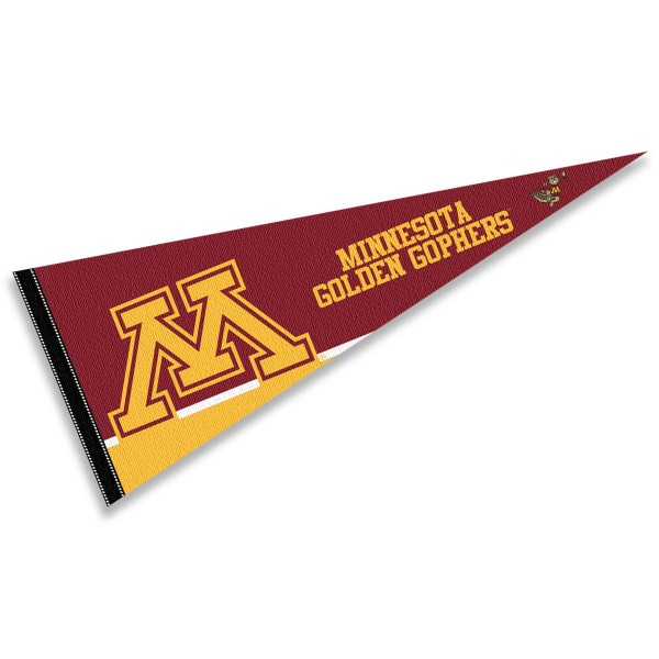 University of Minnesota Pennant consists of our full size sports pennant which measures 12x30 inches, is constructed of felt, is single sided imprinted, and offers a pennant sleeve for insertion of a pennant stick, if desired. This UM Gophers Pennant Decorations is Officially Licensed by the selected university and the NCAA.