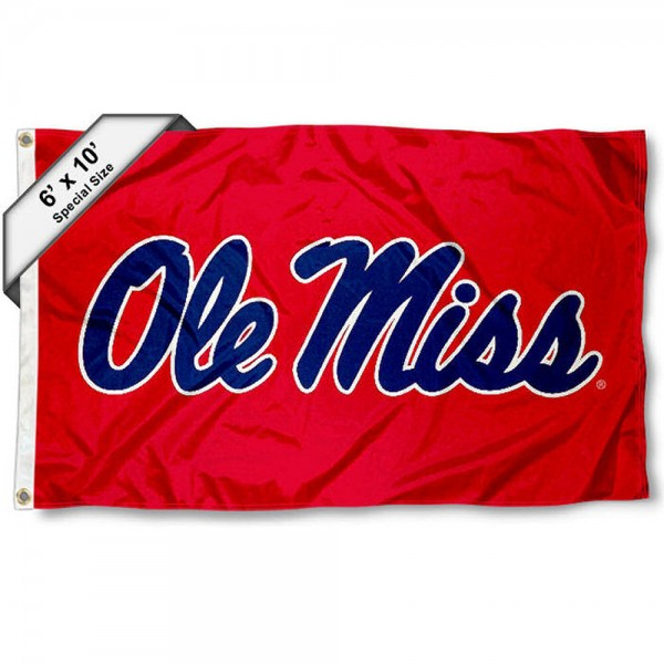 University of Mississippi 6'x10' Flag measures 6x10 feet, is made of thick poly, has quadruple-stitched fly ends, and Ole Miss logos are screen printed into the Ole Miss 6'x10' Flag. This 6'x10' Flag is officially licensed by and the NCAA.