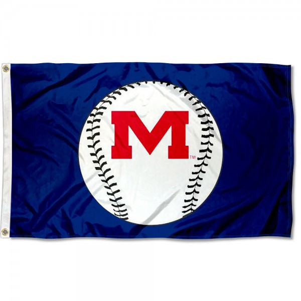 University of Mississippi Baseball Flag measures 3'x5', is made of 100% poly, has quadruple stitched sewing, two metal grommets, and has double sided Team University logos. Our University of Mississippi Baseball Flag is officially licensed by the selected university and the NCAA.