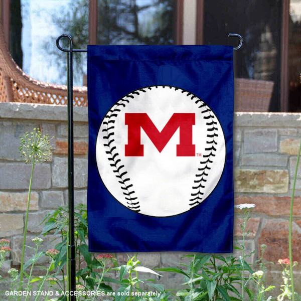 University of Mississippi Baseball Garden Flag is 13x18 inches in size, is made of 2-layer polyester, screen printed University of Mississippi Baseball athletic logos and lettering. Available with Express Shipping, Our University of Mississippi Baseball Garden Flag is officially licensed and approved by University of Mississippi Baseball and the NCAA.