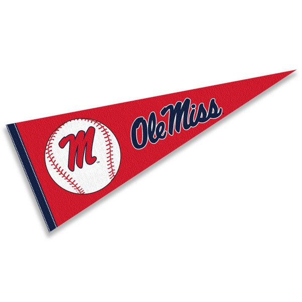 University of Mississippi Baseball Pennant consists of our full size sports pennant which measures 12x30 inches, is constructed of felt, is single sided imprinted, and offers a pennant sleeve for insertion of a pennant stick, if desired. This Mississippi Rebels Pennant Decorations is Officially Licensed by the selected university and the NCAA.