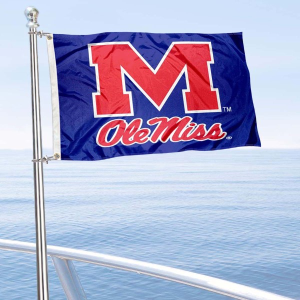 University of Mississippi Boat and Mini Flag is 12x18 inches, polyester, offers quadruple stitched flyends for durability, has two metal grommets, and is double sided. Our mini flags for University of Mississippi are licensed by the university and NCAA and can be used as a boat flag, motorcycle flag, golf cart flag, or ATV flag.