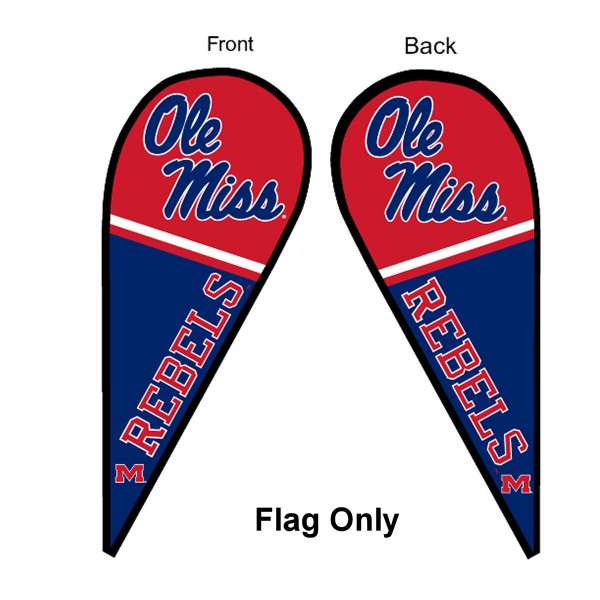 University of Mississippi Feather Flag is 9 feet by 3 feet and is a tall 10' when fully assembled. The feather flag is made of thick polyester and is readable and viewable on both sides. The screen printed Mississippi Rebels double sided logos are NCAA Officially Licensed and is Team and University approved.