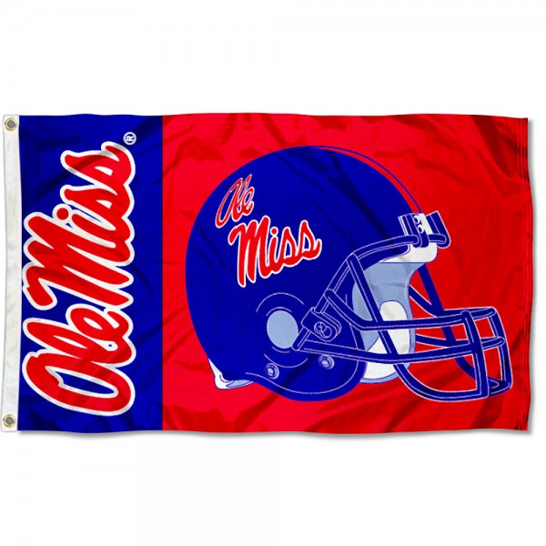University of Mississippi Football Flag measures 3'x5', is made of 100% poly, has quadruple stitched sewing, two metal grommets, and has double sided University of Mississippi logos. Our University of Mississippi Football Flag is officially licensed by the selected university and the NCAA.