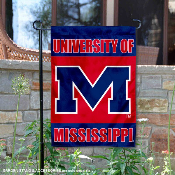 University of Mississippi Garden Flag is made of double layer polyester, measures 13x18 inches, and has screen printed NCAA School insignias and lettering. The University of Mississippi Garden Flag is approved by University of Mississippi and NCAA and university garden flags are great for your entranceway, garden, yard, mailbox, or window.