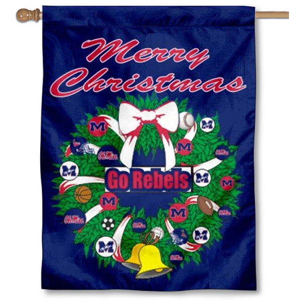 University of Mississippi Holiday Flag is a decorative house flag, 30x40 inches, made of 100% polyester, Holiday NCAA team insignias, and has a top pole sleeve to hang vertically. Our University of Mississippi Holiday Flag is officially licensed by the selected university and the NCAA.