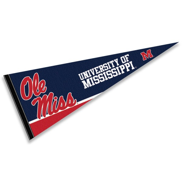 University of Mississippi Pennant consists of our full size sports pennant which measures 12x30 inches, is constructed of felt, is single sided imprinted, and offers a pennant sleeve for insertion of a pennant stick, if desired. This Ole Miss Pennant Decorations is Officially Licensed by the selected university and the NCAA.