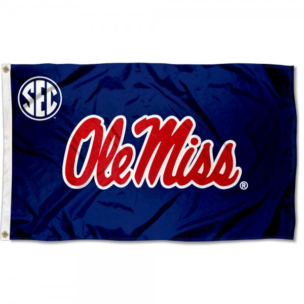 University of Mississippi SEC Flag measures 3'x5', is made of 100% poly, has quadruple stitched sewing, two metal grommets, and has double sided Team University logos. Our University of Mississippi SEC Flag is officially licensed by the selected university and the NCAA.