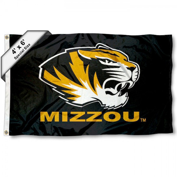University of Missouri 4x6 Flag measures 4x6 feet, is made thick woven polyester, has quadruple stitched flyends, two metal grommets, and offers screen printed NCAA University of Missouri athletic logos and insignias. Our University of Missouri 4x6 Flag is officially licensed by University of Missouri and the NCAA.