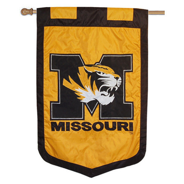 University of Missouri Banner Flag measures 35x52 inches, is made of 100% thick nylon, offers embroidered NCAA team insignias, and has a top pole sleeve to hang vertically. Our University of Missouri Banner Flag is officially licensed by the selected university and the NCAA
