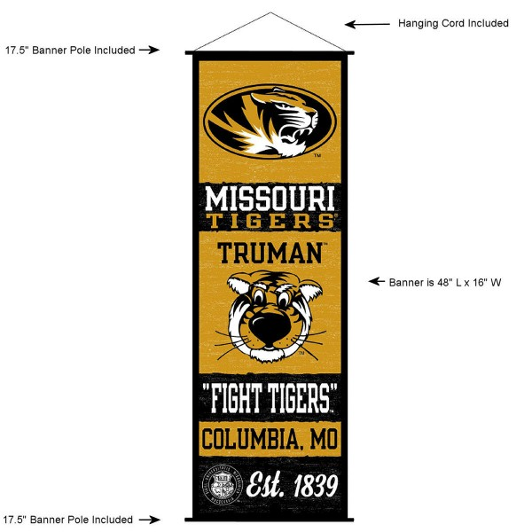 """This """"ready to hang"""" University of Missouri Decor and Banner is made of polyester material, measures a large 17.5"""" x 48"""", offers screen printed athletic logos, and includes both top and bottom 3/4"""" diameter plastic banner poles and hanging cord. Our University of Missouri D�cor and Banner is Officially Licensed by the selected college and NCAA."""