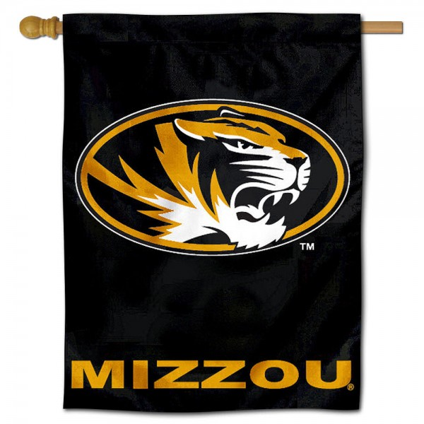 "University of Missouri Decorative Flag is constructed of polyester material, is a vertical house flag, measures 30""x40"", offers screen printed athletic insignias, and has a top pole sleeve to hang vertically. Our University of Missouri Decorative Flag is Officially Licensed by University of Missouri and NCAA."