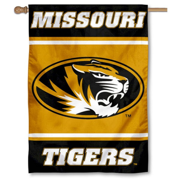 University of Missouri Double Sided Banner is a vertical house flag which measures 28x40 inches, is made of 2 ply 100% nylon, offers screen printed NCAA team insignias, and has a top pole sleeve to hang vertically. Our University of Missouri Double Sided Banner is officially licensed by the selected university and the NCAA.
