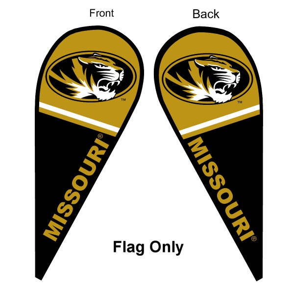 University of Missouri Feather Flag is 9 feet by 3 feet and is a tall 10' when fully assembled. The feather flag is made of thick polyester and is readable and viewable on both sides. The screen printed Missouri Tigers double sided logos are NCAA Officially Licensed and is Team and University approved.