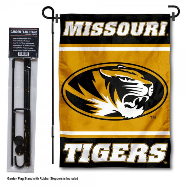 """University of Missouri Garden Flag and Stand kit includes our 13""""x18"""" garden banner which is made of 2 ply poly with liner and has screen printed licensed logos. Also, a 40""""x17"""" inch garden flag stand is included so your University of Missouri Garden Flag and Stand is ready to be displayed with no tools needed for setup. Fast Overnight Shipping is offered and the flag is Officially Licensed and Approved by the selected team."""
