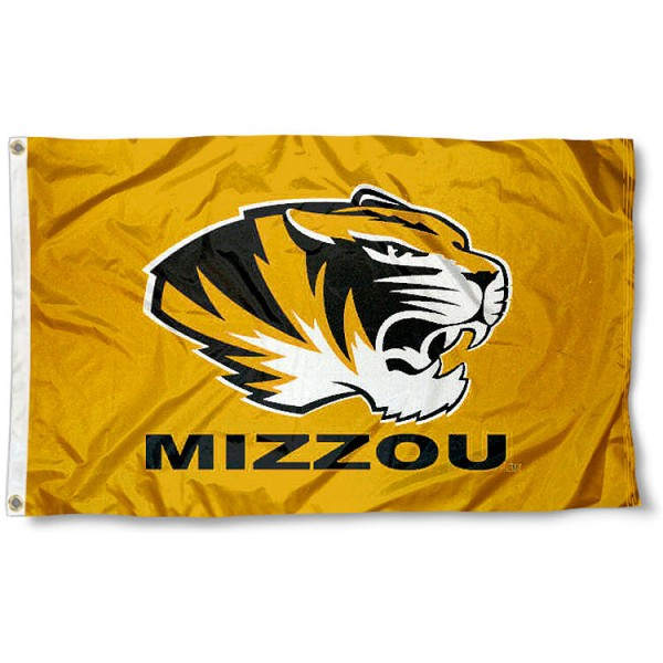 University of Missouri Gold Rush Flag measures 3'x5', is made of 100% poly, has quadruple stitched sewing, two metal grommets, and has double sided University of Missouri logos. Our University of Missouri Gold Rush Flag is officially licensed by the selected university and the NCAA