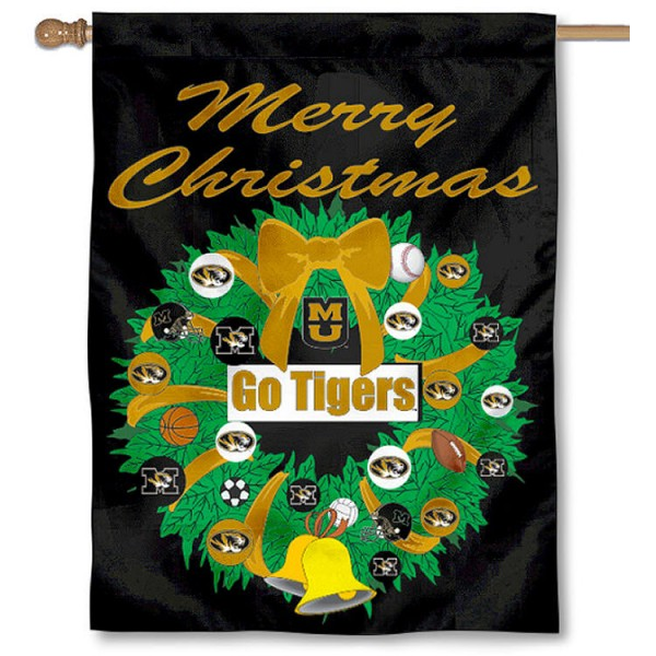 University of Missouri Holiday Flag is a decorative house flag, 30x40 inches, made of 100% polyester, Holiday NCAA team insignias, and has a top pole sleeve to hang vertically. Our University of Missouri Holiday Flag is officially licensed by the selected university and the NCAA.
