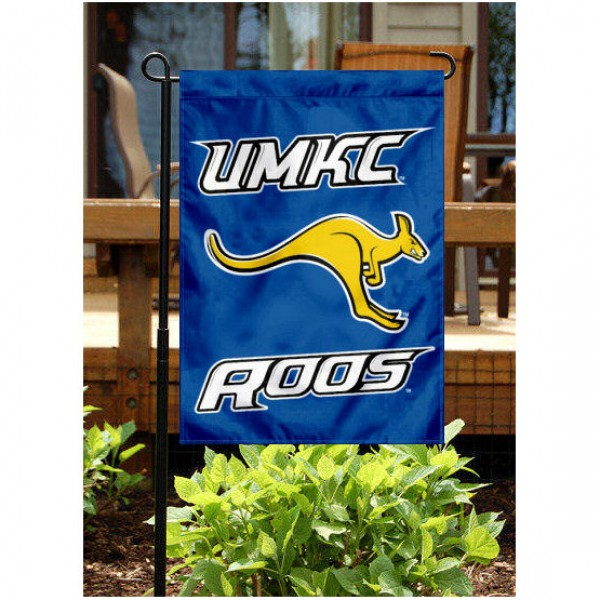 University of Missouri-Kansas City Garden Flag is 13x18 inches in size, is made of 2-layer polyester, screen printed University of Missouri-Kansas City athletic logos and lettering. Available with Same Day Express Shipping, Our University of Missouri-Kansas City Garden Flag is officially licensed and approved by University of Missouri-Kansas City and the NCAA.