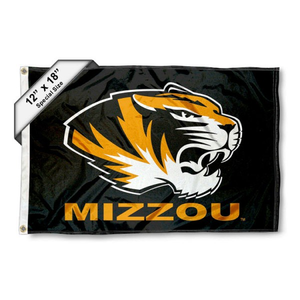 University of Missouri Mini Flag is 12x18 inches, polyester, offers quadruple stitched flyends for durability, has two metal grommets, and is double sided. Our mini flags for University of Missouri are licensed by the university and NCAA and can be used as a boat flag, motorcycle flag, golf cart flag, or ATV flag