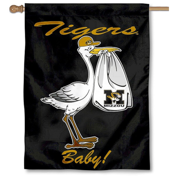 University of Missouri New Baby Flag measures 30x40 inches, is made of poly, has a top hanging sleeve, and offers dye sublimated Mizzou Tigers logos. This Decorative University of Missouri New Baby House Flag is officially licensed by the NCAA.