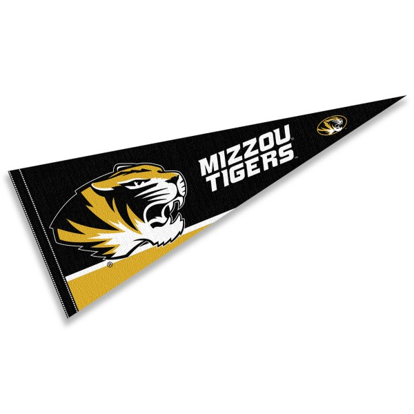 University of Missouri Pennant consists of our full size sports pennant which measures 12x30 inches, is constructed of felt, is single sided imprinted, and offers a pennant sleeve for insertion of a pennant stick, if desired. This Mizzou Tigers Pennant Decorations is Officially Licensed by the selected university and the NCAA.