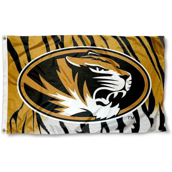 University of Missouri Stripes Logo Flag measures 3'x5', is made of 100% poly, has quadruple stitched sewing, two metal grommets, and has double sided University of Missouri logos. Our University of Missouri Stripes Logo Flag is officially licensed by the selected university and the NCAA.