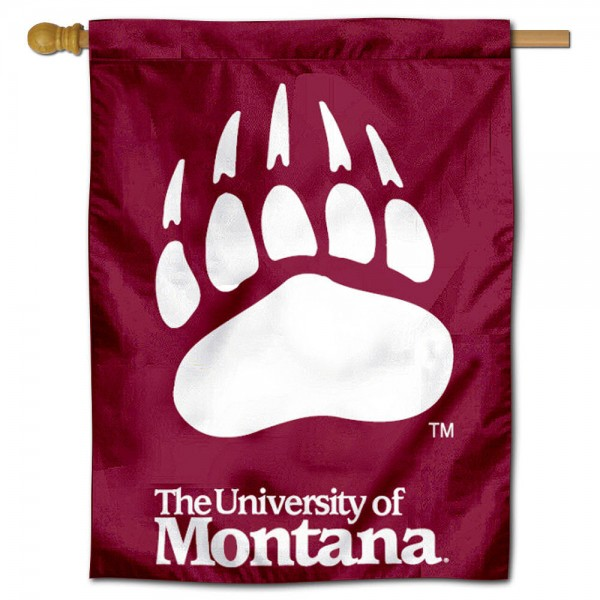 """University of Montana Decorative Flag is constructed of polyester material, is a vertical house flag, measures 28""""x40"""", offers screen printed athletic insignias, and has a top pole sleeve to hang vertically. Our University of Montana Decorative Flag is Officially Licensed by University of Montana and NCAA."""