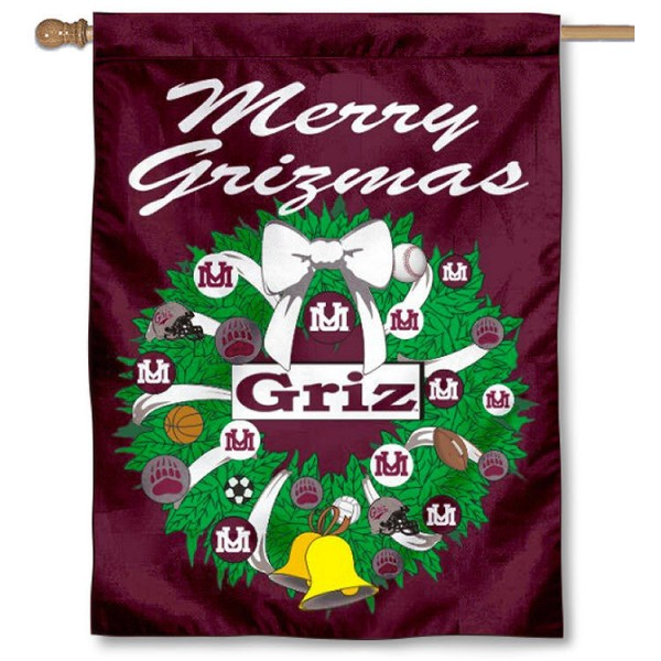 University of Montana Holiday Flag is a decorative house flag, 30x40 inches, made of 100% polyester, Holiday NCAA team insignias, and has a top pole sleeve to hang vertically. Our University of Montana Holiday Flag is officially licensed by the selected university and the NCAA.
