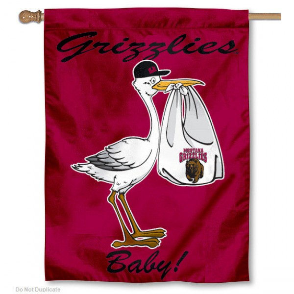 University of Montana New Baby Flag measures 30x40 inches, is made of poly, has a top hanging sleeve, and offers dye sublimated Montana Grizzly logos. This Decorative University of Montana New Baby House Flag is officially licensed by the NCAA.