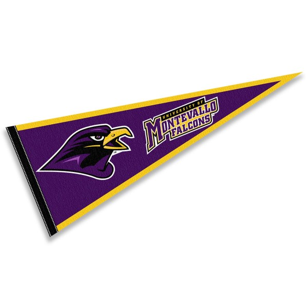 University of Montevallo Pennant consists of our full size sports pennant which measures 12x30 inches, is constructed of felt, is single sided imprinted, and offers a pennant sleeve for insertion of a pennant stick, if desired. This University of Montevallo Pennant Decorations is Officially Licensed by the selected university and the NCAA.
