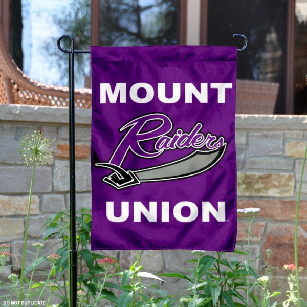 University of Mount Union Garden Flag is 13x18 inches in size, is made of 2-layer polyester, screen printed university athletic logos and lettering, and is readable and viewable correctly on both sides. Available same day shipping, our University of Mount Union Garden Flag is officially licensed and approved by the university and the NCAA.