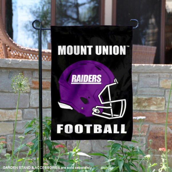 University of Mount Union Football Helmet Garden Banner is 13x18 inches in size, is made of 2-layer polyester, screen printed University of Mount Union athletic logos and lettering. Available with Same Day Express Shipping, Our University of Mount Union Football Helmet Garden Banner is officially licensed and approved by University of Mount Union and the NCAA.