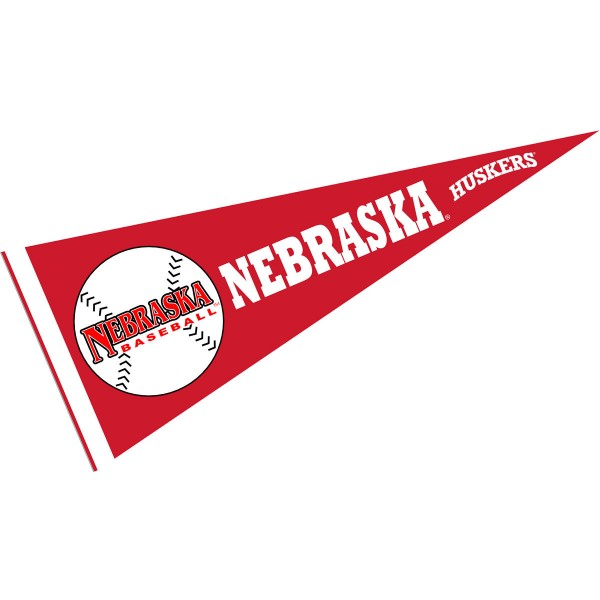 University of Nebraska Baseball Pennant consists of our full size sports pennant which measures 12x30 inches, is constructed of felt, is single sided imprinted, and offers a pennant sleeve for insertion of a pennant stick, if desired. This Nebraska Cornhuskers Pennant Decorations is Officially Licensed by the selected university and the NCAA.