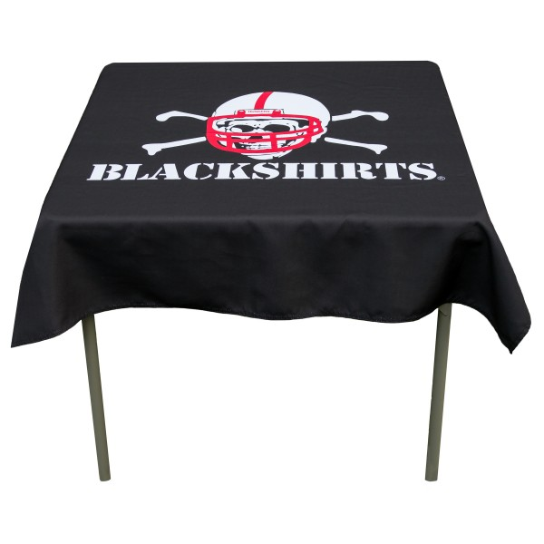 University of Nebraska Blackshirts Tablecloth measures 48 x 48 inches, is made of 100% Polyester, seamless one-piece construction, and is perfect for any tailgating table, card table, or wedding table overlay. Each includes Officially Licensed Logos and Insignias.