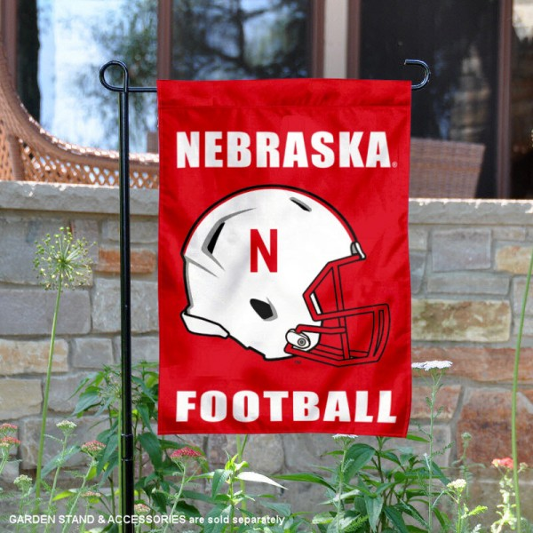 University of Nebraska Football Helmet Garden Banner is 13x18 inches in size, is made of 2-layer polyester, screen printed Cornhuskers athletic logos and lettering. Available with Same Day Express Shipping, Our University of Nebraska Football Helmet Garden Banner is officially licensed and approved by Cornhuskers and the NCAA.