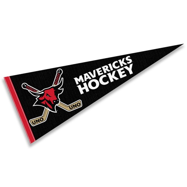 University of Nebraska Omaha Hockey Pennant consists of our full size sports pennant which measures 12x30 inches, is constructed of felt, is single sided imprinted, and offers a pennant sleeve for insertion of a pennant stick, if desired. This Nebraska Omaha Mavs Pennant Decorations is Officially Licensed by the selected university and the NCAA.