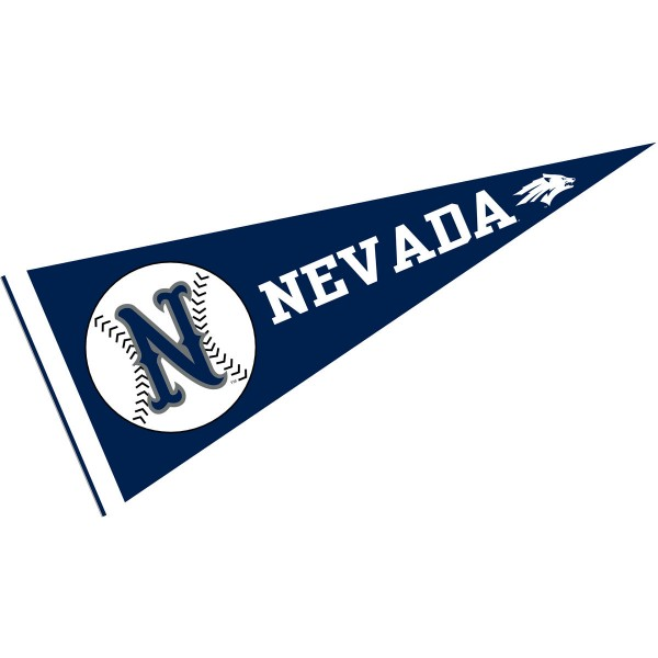 University of Nevada Baseball Pennant consists of our full size sports pennant which measures 12x30 inches, is constructed of felt, is single sided imprinted, and offers a pennant sleeve for insertion of a pennant stick, if desired. This Nevada Wolfpack Pennant Decorations is Officially Licensed by the selected university and the NCAA.