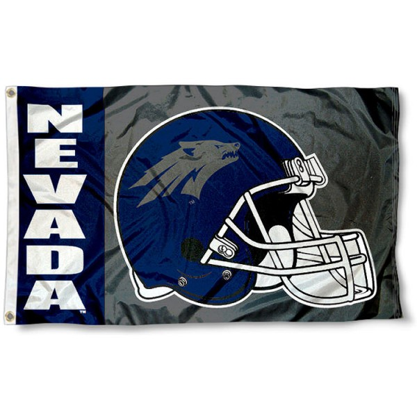 University of Nevada Football Flag measures 3'x5', is made of 100% poly, has quadruple stitched sewing, two metal grommets, and has double sided University of Nevada logos. Our University of Nevada Football Flag is officially licensed by the selected university and the NCAA.