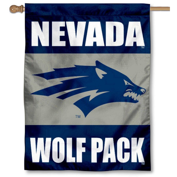 University of Nevada House Flag is a vertical house flag which measures 30x40 inches, is made of 2 ply 100% polyester, offers dye sublimated NCAA team insignias, and has a top pole sleeve to hang vertically. Our University of Nevada House Flag is officially licensed by the selected university and the NCAA