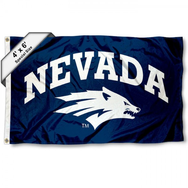 University of Nevada Large 4x6 Flag measures 4x6 feet, is made thick woven polyester, has quadruple stitched flyends, two metal grommets, and offers screen printed NCAA University of Nevada Large athletic logos and insignias. Our University of Nevada Large 4x6 Flag is officially licensed by University of Nevada and the NCAA.