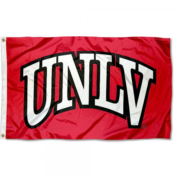 University of Nevada Las Vegas Flag measures 3'x5', is made of 100% poly, has quadruple stitched sewing, two metal grommets, and has double sided Team University logos. Our University of Nevada Las Vegas Flag is officially licensed by the selected university and the NCAA.