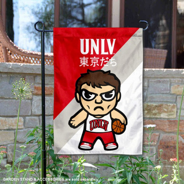 University of Nevada Las Vegas Tokyodachi Mascot Yard Flag is 13x18 inches in size, is made of double layer polyester, screen printed university athletic logos and lettering, and is readable and viewable correctly on both sides. Available same day shipping, our University of Nevada Las Vegas Tokyodachi Mascot Yard Flag is officially licensed and approved by the university and the NCAA.