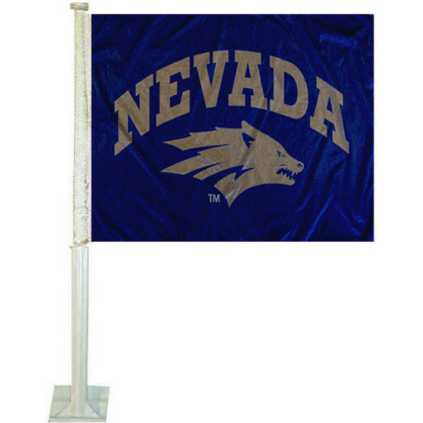 University of Nevada Wolf Pack Car Flag measures 12x15 inches, is constructed of sturdy 2 ply polyester, and has dye sublimated school logos which are readable and viewable correctly on both sides. University of Nevada Wolf Pack Car Flag is officially licensed by the NCAA and selected university.