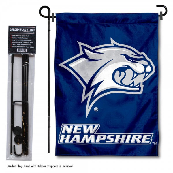 "University of New Hampshire Garden Flag and Stand kit includes our 13""x18"" garden banner which is made of 2 ply poly with liner and has screen printed licensed logos. Also, a 40""x17"" inch garden flag stand is included so your University of New Hampshire Garden Flag and Stand is ready to be displayed with no tools needed for setup. Fast Overnight Shipping is offered and the flag is Officially Licensed and Approved by the selected team."
