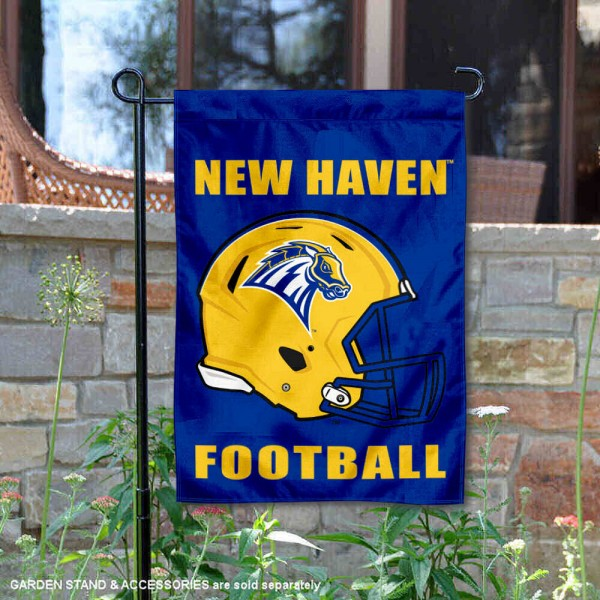 University of New Haven Football Helmet Garden Banner is 13x18 inches in size, is made of 2-layer polyester, screen printed University of New Haven athletic logos and lettering. Available with Same Day Express Shipping, Our University of New Haven Football Helmet Garden Banner is officially licensed and approved by University of New Haven and the NCAA.