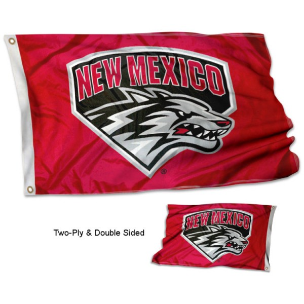 University of New Mexico Flag measures 3'x5', is made of 2 layer 100% polyester, has quadruple stitched flyends for durability, and is readable correctly on both sides. Our University of New Mexico Flag is officially licensed by the university, school, and the NCAA