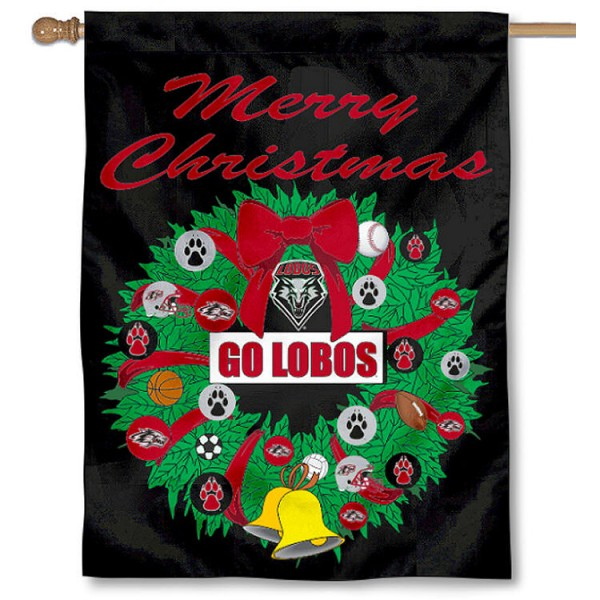 University of New Mexico Holiday Flag is a decorative house flag, 30x40 inches, made of 100% polyester, Holiday NCAA team insignias, and has a top pole sleeve to hang vertically. Our University of New Mexico Holiday Flag is officially licensed by the selected university and the NCAA.